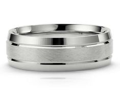 Gembrooke Creations Mens Titanium 14k White Gold 7.5mm Sleek Modern Comfort Fit Wedding Band Ring