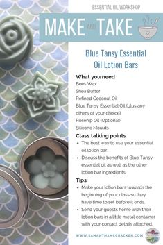 Try your hand at making these simply gorgeous Blue Tansy lotion bars, and then transform them into an exciting Essential Oil Make & Take Workshop. It's a perfect way to teach your team easy and fun ways to use their essential oils. Click through to my website for full instructions.