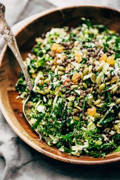 The perfect Autumn salad! This lentil Kale Salad with Parmesan has tons of al-dente cooked lentils, Tuscan kale, plump golden raisins, pepitas, and it's drizzled with a simple red wine vinaigrette. Perfect as a main course or a side salad! Cucumber Quinoa Salad, Lentil Salad, Kale Salad, Kale Pesto, Vegetarian Lunch, Vegetarian Recipes, Healthy Recipes, Lentil Recipes, Lunch Recipes