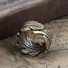 Men's Vintage Handmade Adjustable Leaf Ring,free shipping,looback,looback.com,$7.00