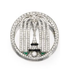 Platinum, Diamond, Emerald and Enamel Brooch, Cartier, Circa 1925