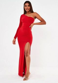 red slinky long sleeve one shoulder maxi dress with ruched detail and split front. regular fit Maxi - sits at the top of the foot Polyester Elastane Noara wears a UK size 8 / EU size 36 / US size 4 and her height is Glamorous Evening Gowns, Long Evening Gowns, Tight Dresses, Formal Dresses, Dresses Dresses, Missguided, Bodycon Dress, Prom Dress, One Shoulder