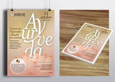"""Manifesto e flyer per la Conferenza """"Ayurveda"""" del Centro Clinico di psicologia e medicina integrata Arbor Vitae. #arborvitae #alpianodisottographic #Ilovemyjob #ayurveda #typography"""