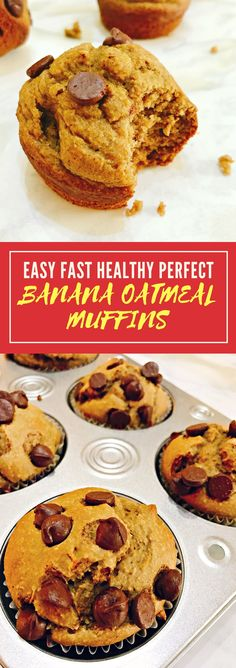 These banana oatmeal muffins are my family's favorite healthy breakfast. They are so sweet yet sugar free and are ready in just 20 min! Fast! Easy! Perfect!