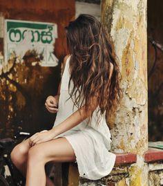 beautiful long, wavy brunette