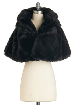 True Hollywood Glamour Cape in Noir - Winter, Best, Black, Faux Fur, 1, Black, Solid, Prom, Party, Cocktail, Holiday Party, 20s, 30s, Short Sleeves, Fall, Short, Vintage Inspired, Variation