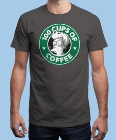 """100 Cups of Coffee"" is today's £8/€10/$12 tee for 24 hours only on www.Qwertee.com Pin this for a chance to win a FREE TEE this weekend. Follow us on pinterest.com/qwertee for a second! Thanks:)"