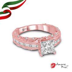 Anillo de Oro Rosa SKU: RG1430345 Diamante Princess 0.72 quilates. Color-H, Claridad SI1 Laboratorio - EGL(EC), SKU Diamante: 79194 Piedras Laterales: 0.70 pts  , Precio: $ 79,283.92 pesos M.N *Consulte términos y condiciones.