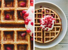 Multigrain Waffles With Yogurt And Pomegranate | 31 Colorful Things To Make For EasterBrunch