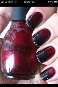 blood red nails with black tips