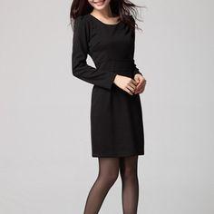 Autumn Round Neck Fuff Sleeve Zipper Kint Little Black Dress