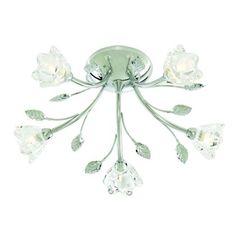 Jasmine Glass Flower Flush Ceiling Light - Silver