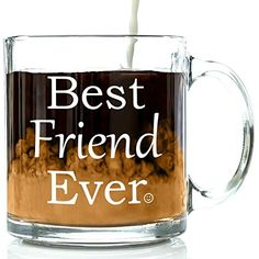 Best Friend Ever Glass Coffee Mug 13 oz - Unique Christmas Present Idea For Your Best Friend - Perfect Long Distance Friendship, Holiday or Birthday Gift For Men & Women, Him or Her