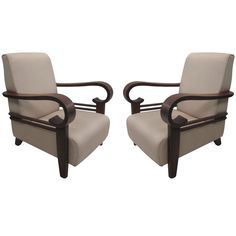 Important Pair of French Colonial Armchair w/ Art Deco Influence | From a unique collection of antique and modern lounge chairs at http://www.1stdibs.com/furniture/seating/lounge-chairs/