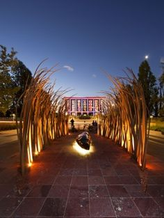 'Enlighten Canberra' runs each March in the lead up to Canberra Day, here showing the National Library in the background.