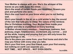 This made me cry and miss my mom. I Miss My Mom, I Love You Mom, Mother Poems, Mother Birthday, Birthday Poems, Happy Birthday, Mothers Love, Great Quotes, Small Quotes