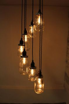 Lydd : Handmade Spiral Edison Pendant Light with Eight Mason Jars and fittings for Edison Screw Bulbs Edison Lighting, Mason Jar Lighting, Pendant Lighting, Edison Bulbs, Edison Bulb Chandelier, Industrial Lighting, Track Lighting, Mason Jar Pendant Light, Diy Pendant Light