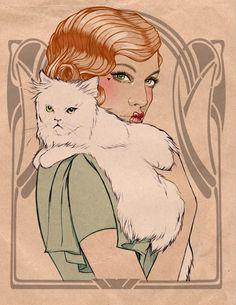 #illustration #lady #cat