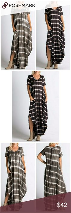 PRE ORDER NWT MAXI TIE DYE DRESS Short sleeve flowy tie dye dress Maxi dress Perfect for everyday True to size  Choose black or olive Dresses Maxi