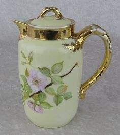 Antique H&C Limoges France Flower & Gold Signed Porcelain Tea Chocolate Pot in Pottery & Glass, Pottery & China, China & Dinnerware, Limoges Tea Pot Set, Pot Sets, Chocolate Pots, Chocolate Coffee, Tea Cup Saucer, Tea Cups, Teapots And Cups, Antique China, Vintage Coffee