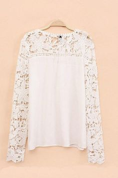 Beautiful White Hollow-out Top with Lace