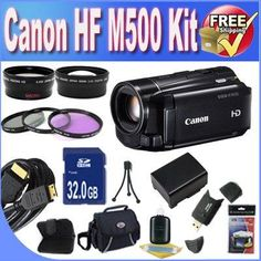 Canon VIXIA HF M500 Full HD 10x Image Stabilized Camcorder with One SDXC Card Slot and 3.0 Touch LCD + Extended Life Battery + 32GB SDHC Class 10 Memory Card + USB Card Reader + Memory Card Wallet + Deluxe Case w/Strap + Mini HDMI to HDMI Cable + 3 Piece Professional Filter Kit + Super Wide Angle Lens + 2x Telephoto Lens + Accessory Saver Bundle! - http://yourperfectcamera.com/canon-vixia-hf-m500-full-hd-10x-image-stabilized-camcorder-with-one-sdxc-card-slot-and-3-0-touch-lcd