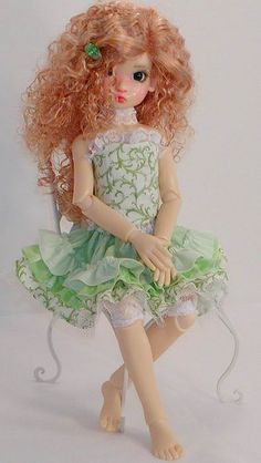 Annabella models Corset & Ruffled Skirt in Green by Sweet Creations Doll Fashions,