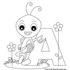 Printable Animal Alphabet Letter A for Ant