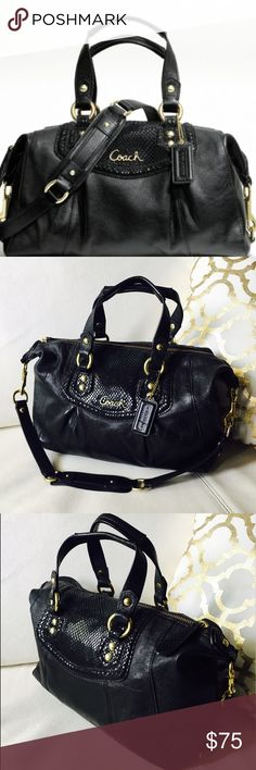 ❤️Coach Ashley Black Leather Satchel  F19247 ❤️ Coach Ashley Black Leather Satchel Shoulder Handbag F19247 12 x 8 x 4.5, handles drop 5.5, removable shoulder Ashley Python Detail in good used condition CHECK PICS FOR CONDITION Coach Bags Satchels