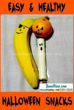 Easy Healthy Halloween Snacks! String Cheese Ghosts, Jack-o-lantern Oranges, Banana Pirates