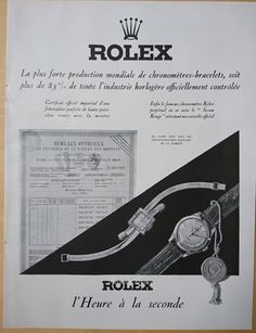 Art Deco Vintage French Ad Rolex Watches 1949 by reveriefrance on Etsy