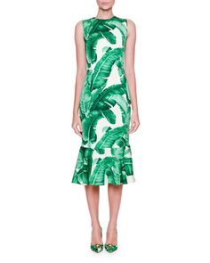 Sleeveless+Banana+Leaf-Print+Midi+Dress,+White/Green+by+Dolce+&+Gabbana+at+Neiman+Marcus.