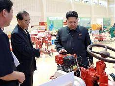 Inspection ... North Korean leader Kim Jong-un visits a farm machine exhibition. Picture:
