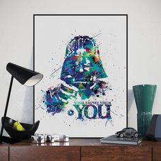 US $4.55 -- AliExpress.com Product - Pop Movie Poster Star Wars Abstract Darth Vader Mask A4 Art Poster Print Canvas Paintings No Frame Living Room Nordic Home Decor