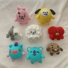 """MINI BT21 CROCHET PATTERN """"I Love This Yarn"""" 3.5 mm hook Make """"fluff"""" by brushing out acrylic yarn with a pet slicker brush, for clearer instructions you can find the video tutorial on my Youtube... Crochet Cat Pattern, Crotchet Patterns, Crochet Patterns Amigurumi, Crochet Dolls, Knitting Patterns, Kawaii Crochet, Cute Crochet, Crochet Crafts, Easy Crochet"""