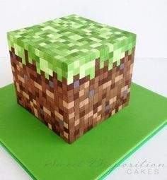 Minecraft cake...but could I use sponges and decorate the bathroom walls like minecraft?