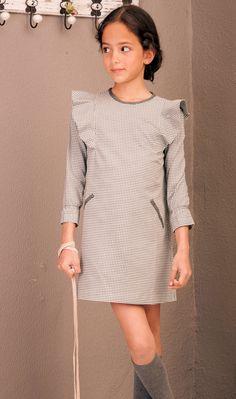 PVP LOTE  4 tallas Vestido trapecio pata de gallo gris