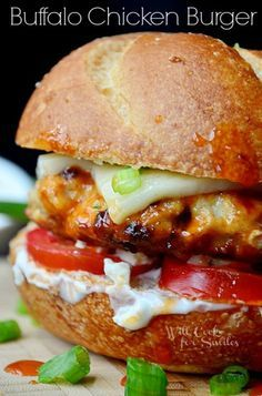 Buffalo Chicken Burger | Juicy chicken burger covered in buffalo sauce and made with ranch, blue cheese crumbles and more goodies | willcookforsmiles.com | #chicken #buffalo
