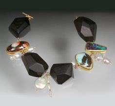 Susan Chin | Black ebony, pearls with gold studs