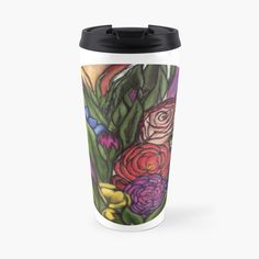 'Flower Bouquets ' Travel Mug by Laurajart Buy Flowers, Bright Flowers, Bright Colors, Colours, Flower Bouquets, Large Prints, Travel Mug, Fancy, Mugs