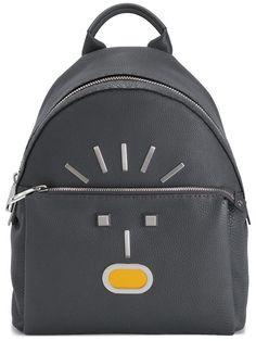 Fendi Selleria Faces Leather Backpack In Slate-grey Yellow Leather, Grey Leather, Calf Leather, Grave, Designer Backpacks, Herschel Heritage Backpack, Black Canvas, Luxury Bags, Backpacks