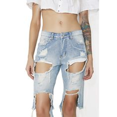 Blue Distressed Denim Long Shorts ($48) ❤ liked on Polyvore featuring shorts, longer length shorts, long shorts, zipper shorts, long bermuda shorts and bermuda shorts