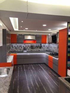Best Of Modern Home Interior Design Kitchen Layout Kitchen Interior Modern kitchen vibrant colourpallette ambience ideas Modern Kitchen Interiors, Luxury Kitchen Design, Kitchen Room Design, Modern Kitchen Cabinets, Contemporary Kitchen Design, Interior Design Kitchen, Interior Modern, Red Kitchen, Kitchen Decor