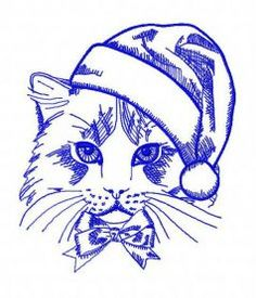 Christmas cat 3 machine embroidery design      . Machine embroidery design. www.embroideres.com
