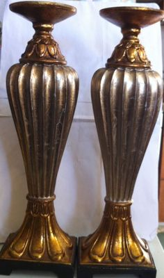 Vintage Rare Wood Resin (?) 2 Lamp Light Base or Candle Holder Heavy Collectible