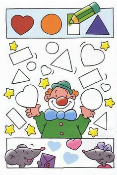 Another clown color the shape page. Preschool Circus, Circus Crafts, Preschool Crafts, Kids Crafts, Toddler Activities, Preschool Activities, Theme Carnaval, Kindergarten, Shape Games