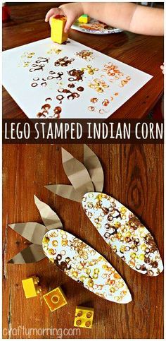Lego Stamped Indian Corn Craft Thanksgiving craft for kids to make this Fall! Make a fun indian corn craft using paper, legos, and paint! It is a easy Thanksgiving art project for the kids to make. Fall Preschool, Preschool Projects, Daycare Crafts, Classroom Crafts, Craft Projects, Thanksgiving Activities For Preschool, November Preschool Themes, Kindergarten Thanksgiving, Daycare Rooms