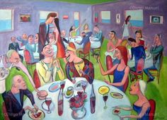 """Reunion social 3"", acrylic on canvas, 95 x 130 cm. #art #followart Price of original painting: inquire"