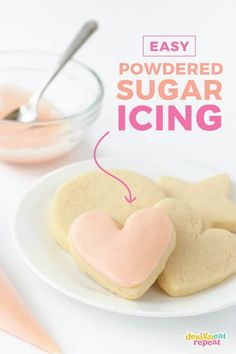 Need a quick glaze to decorate sugar cookies? This powdered sugar icing for cookies is made with basic ingredients you likely already have on hand. Forget the meringue powder or corn syrup, this icing can be made with powdered sugar, milk, vanilla Easy Sugar Cookies, Sugar Cookies Recipe, Frosting For Sugar Cookies, Almond Sugar Cookies, Royal Icing For Cookies, Best Sugar Cookie Icing, Sugar Cookie Glaze, Christmas Cookie Glaze Icing Recipe, Sugar Cookies To Decorate