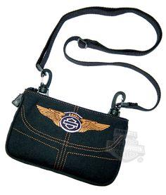GG1011S-BK - Harley-Davidson® Womens 110th Anniversary Black Cotton Canvas Hip Bag - Barnett Harley-Davidson®